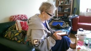 My mom learning to use the Internet